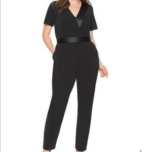 Eloquii Studio Wrapfront Jumpsuit sz 20 black NWT